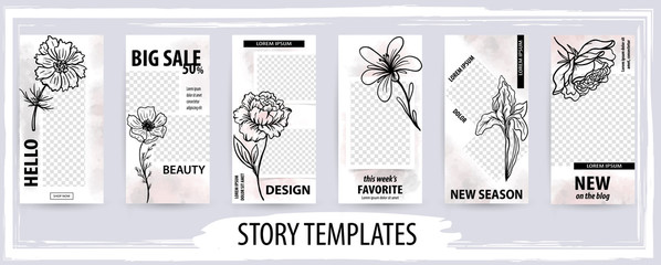 Trendy editable template for social networks story, vector illustration.