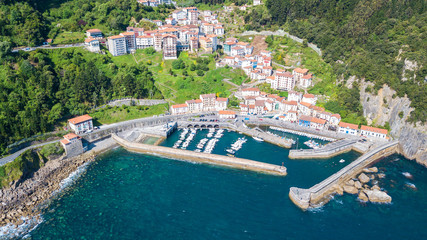 aerial view of basque fishing town and its coastline Fototapete