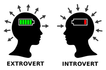 Introvert and extrovert, silhouette head boy or girl