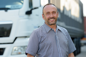 smiling truck driver Wall mural
