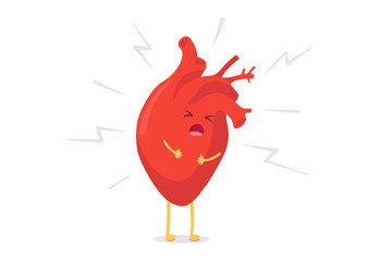 Cartoon heart character unhealthy sick emoji pain emotion. Vector circulatory organ with lightning bolts heart attack concept illustration