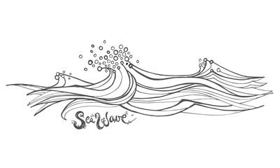 Hand Drawn wave, vector illustration