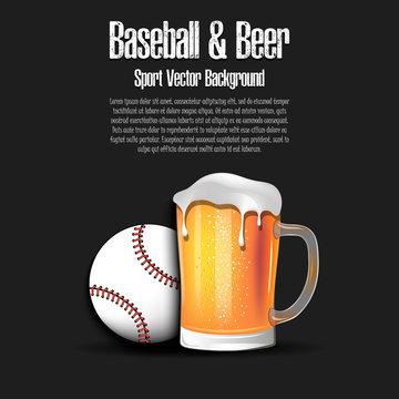 Baseball ball with mug of beer