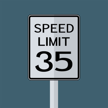 USA Road Traffic Transportation Sign: Speed Limit 35 On White Background,Vector Illustration