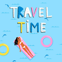 Travel time. Summer background. A girl in a bikini is floating in the sea on an inflatable mattress. Template for card, banner.