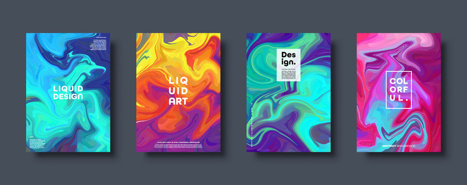 Colorful abstract geometric background. Liquid dynamic gradient waves. Fluid marble texture. Modern covers set. Eps10 vector.