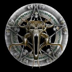 Monster's head pentagram. 3D illustration