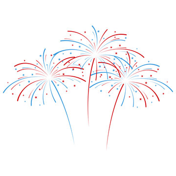 Exploding fireworks in national American colors. Vector