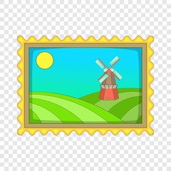 Picture with windmill icon. Cartoon illustration of picture with windmill vector icon for web design