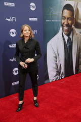 Jodie Foster arrives at the 47th AFI Life Achievement Award gala honoring actor Denzel Washington in Los Angeles