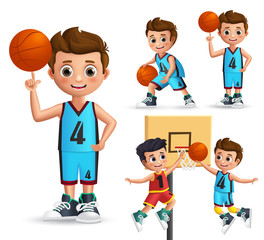 Kids character playing basketball vector set. Young school boy wearing basketball uniform doing different poses and ball tricks isolated in white background. Vector illustration.