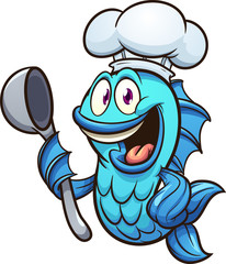 Cartoon chef fish with soup spoon clip art. Vector illustration with simple gradients. All in a single layer.