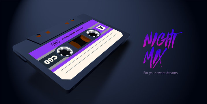 Compact cassette with C60 tape in perspective view