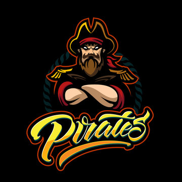 Cartoon style pirate emblem pirates for baseball team. Handmade lettering logotype. Pirates modern typography isolated black background for t-shirt, banner, card, postcard, sale