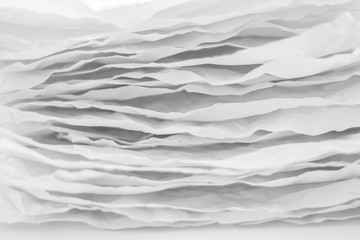 Obraz Closeup of gray paper layers stack. Wavy lines abstract art background. Copy space. - fototapety do salonu