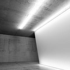 White banner in concrete room