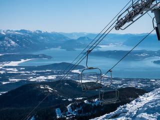 Schweitzer Ski Resort Chairlifts Mountain Lake Pend Orielle View Idaho