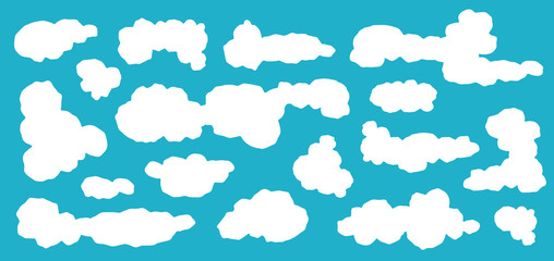 Keuken foto achterwand Hemel Cartoon Blue sky with clouds on the shiny day. Silhouette of white fluffy clouds isolated on blue background. Vector set