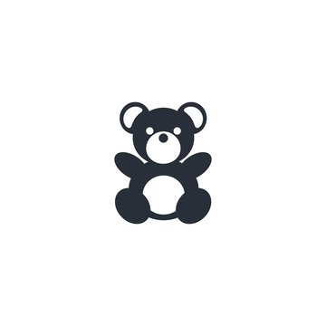 Teddy bear. Vector icon, white background.
