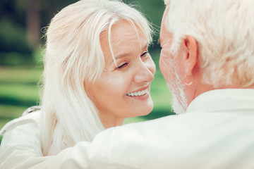 Happy positive woman enjoying time with her husband