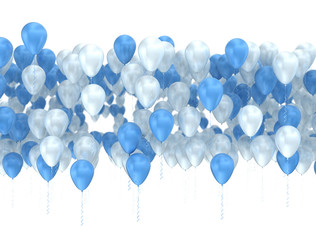 Blue and white balloons isolated. Celebration background, 3d render