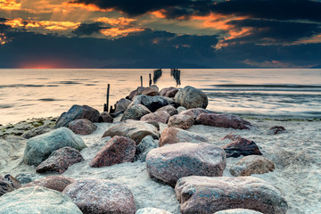 Sunrise in the vicinity of old fishing village, Baltic Sea
