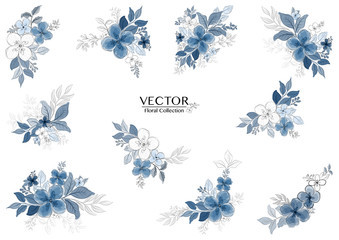 Set of beautiful blue watercolor florals branch