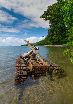 Rusting and abandoned world war 2 american tank left for many years after being dumped in the sea, Shefa Province, Efate island, Vanuatu