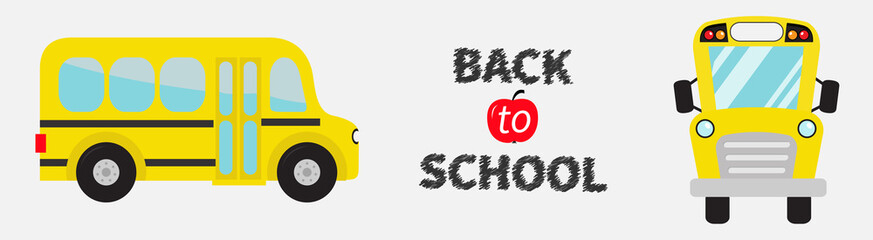 Back to school. Yellow bus set line. Cartoon clipart. Transportation. Side, front view. Flat design Isolated White background.