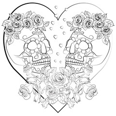 drawing for coloring with the image of the skull on the background of the heart