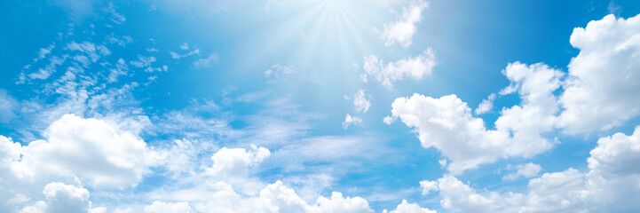 Beautiful blue sky cloudsfor background. Panorama of sky. Fotobehang