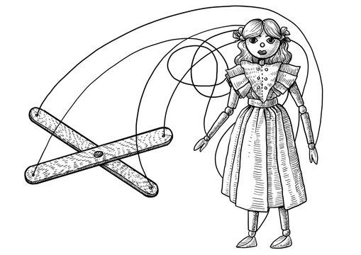 Marionette puppet illustration, drawing, engraving, ink, line art, vector