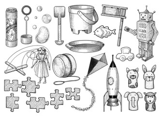 Toy collection illustration, drawing, engraving, ink, line art, vector