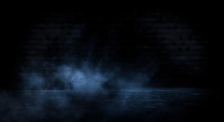 Fotomurales - Dark empty scene, blue neon searchlight light, wet asphalt, smoke, night view, rays. Empty black studio room. Dark background. Abstract dark empty studio room texture.  Product showcase spotlight back
