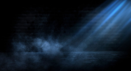 Dark empty scene, blue neon searchlight light, wet asphalt, smoke, night view, rays. Empty black studio room. Dark background. Abstract dark empty studio room texture.  Product showcase spotlight back Wall mural