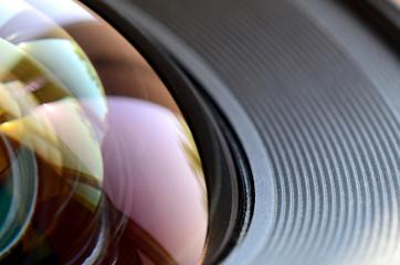 Photo Camera lens close up macro view. Concept of photographer or camera man job