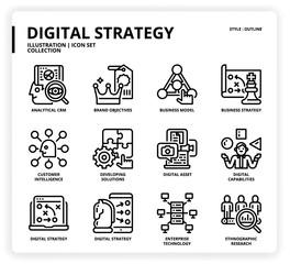 Digital strategy icon set