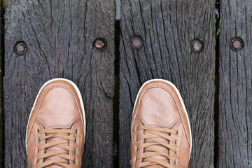 Top view of a man's legs and shoes. Street wear Concept.