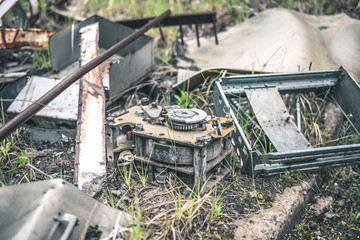 old appliances in abandoned Pripyat