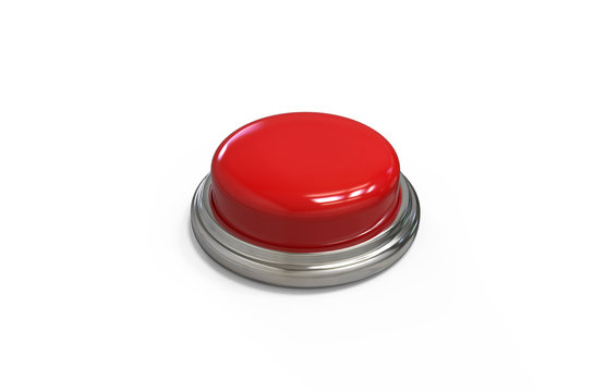 Red round push button with metallic border on isolated white background, 3d illustration
