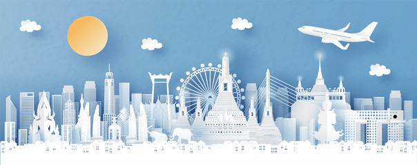 Fototapete - Panorama view of Bangkok, Thailand with temple and city skyline with world famous landmarks in paper cut style vector illustration