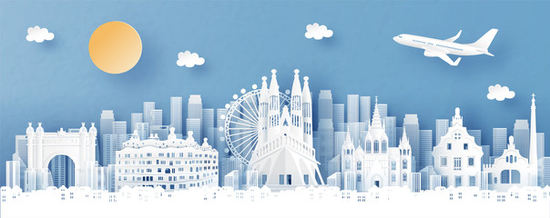 Fototapete - Panorama view of Barecelona, Spain and city skyline with world famous landmarks in paper cut style vector illustration