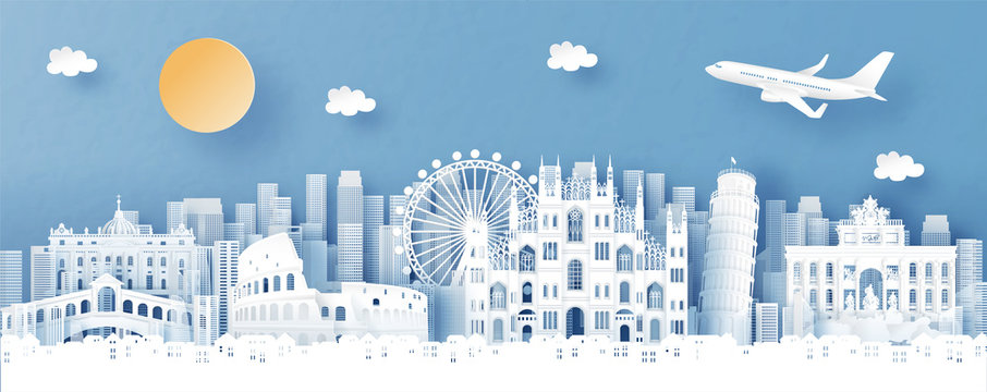 Panorama view of Italy and city skyline with world famous landmarks in paper cut style vector illustration