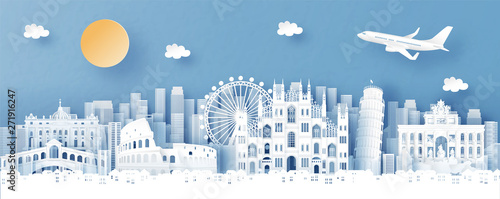 Fototapete Panorama view of Italy and city skyline with world famous landmarks in paper cut style vector illustration