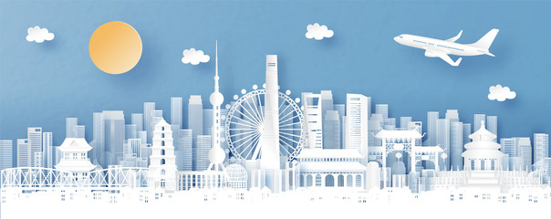 Fototapete - Panorama view of Shanghai, China and skyline with world famous landmarks in paper cut style vector illustration