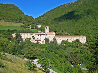 Italy, Serra Sant'Abbondio, Fonte Avellana monastery dedicated to the Holy Cross.