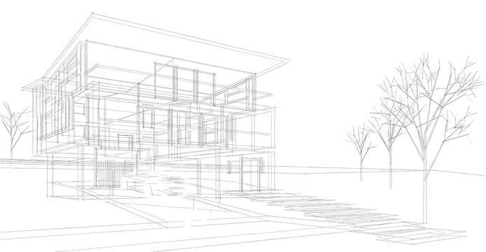house architectural sketch 3d illustration