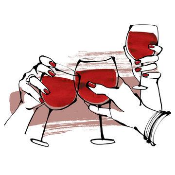 Illustration of women's hand toasting wine glasses