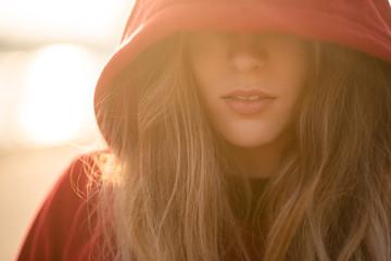 Closeup shot of teenage model in hooded sweatshirt