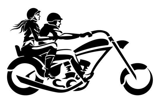 Chopper Rider Couple, Side View Shadow